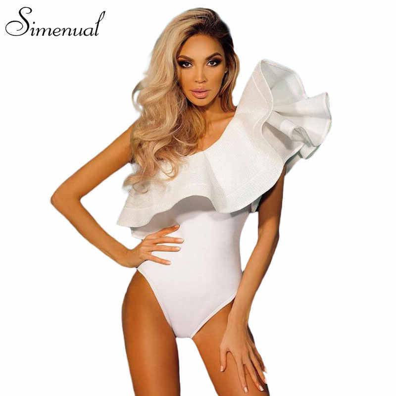 Одно плечо оборками боди фитнес женская одежда 2017 мода sexy hot тонкий bodycon комбинезоны твердые дамы боди комбинезон