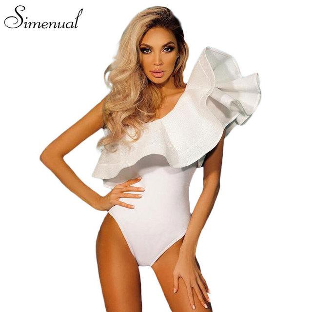Babados um ombro bodysuit de fitness roupas femininas 2017 moda sexy hot magro bodycon macacões sólidos senhoras bodysuits macacão