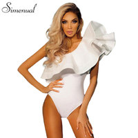 One Shoulder Ruffles Fitness Bodysuit Women Clothing 2016 Fashion Sexy Hot Slim Bodycon Jumpsuits Solid Ladies