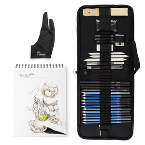 Image 2 - 32/40 חתיכות מקצועי שרטוט ציור כלי ערכת עם גרפיט/פסטל עפרונות, נייר מחיק עט, נשיאה רוכסן מקרה