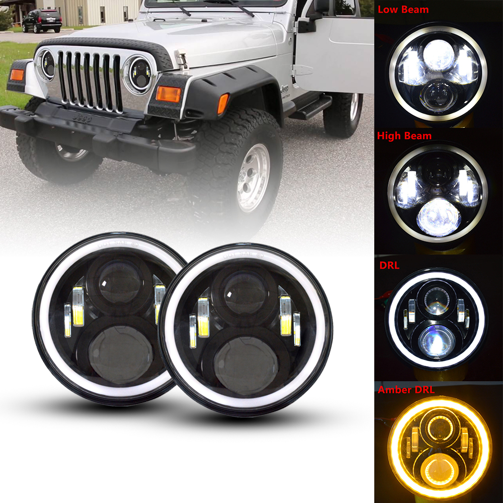 For Jeep 7inch LED Headlamps with halo ring Amber Turn Signal For Lada Niva 4x4 Suzuki
