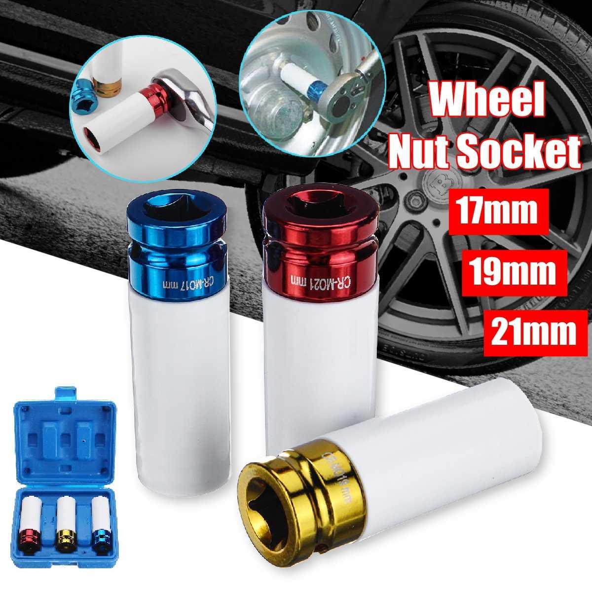 """21mm 1//2/"""" Drive Double Deep Alloy Wheel Nut Socket 6 Sided Single Hex"""