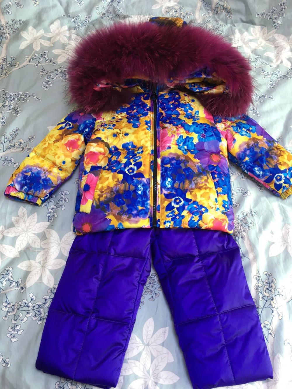 2018 Winter Baby Girls Down Jackets Kids Snowsuit Children Clothing Sets Warm Baby Down Jackets Outerwear Coat+Pants Jumpsuit angela&alex winter baby girls clothes sets children down jackets kids snowsuit warm baby ski suit down outerwear coat pants