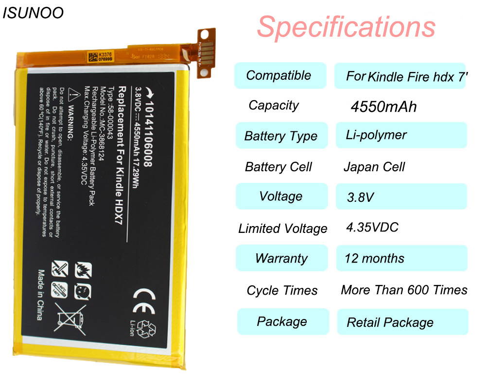 ISUNOO 40mAh 40 40 Battery Replacement for Amazon Kindle Fire HDX 40'  C40R40QMS40 T40 S S40 T40 Battery