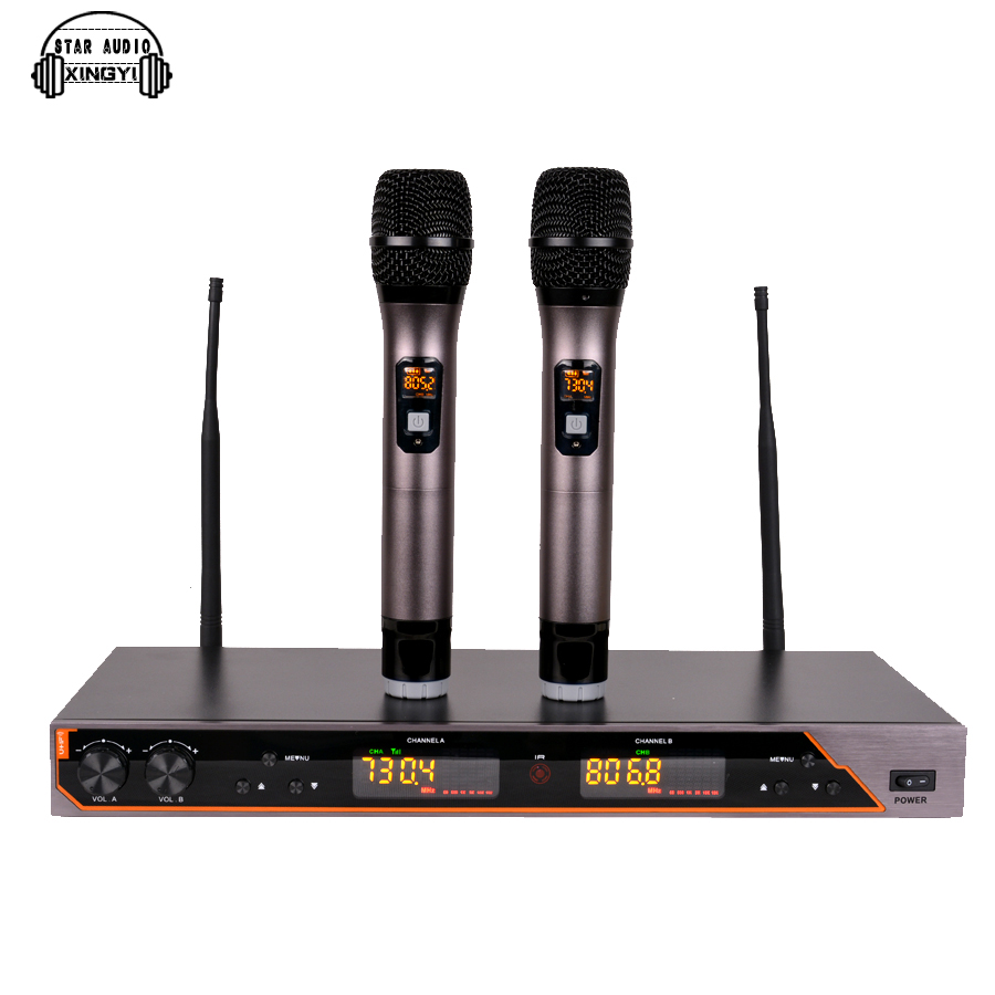 Professional UHF Wireless Microphone System Dual Handheld Mic 2 Channel Display Receiver Mike For UR6S Karaoke