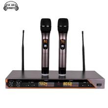 Profesyonel UHF Kablosuz Mikrofon Sistemi UR6S Çift El Mikrofon 2 Kanal Ekran Alıcısı Için Mike Karaoke KTV Açık Partisi