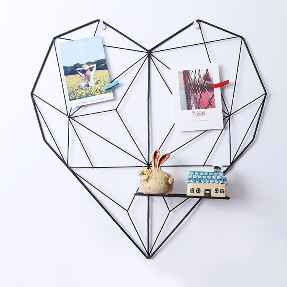 Wall Organizer Iron Metal Mesh Storage Shelf Organizer Rack DIY Photos Home Wall Mounted Heart-shaped Decorative Storage Holders