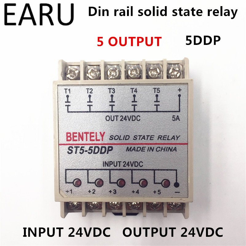 цена на Free Shipping 5DDP 5 Channel Din Rail SSR Quintuplicate Five Input Output 24VDC Single Phase DC Solid State Relay PLC Module 5A
