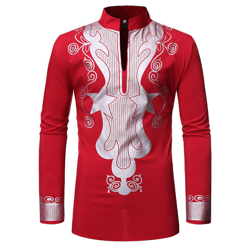 Red African Clothes Shirt Men 2019 Fashion African Dashiki Print Mens Dress Shirts Streetwear Casual African Clothing Camisa XXL