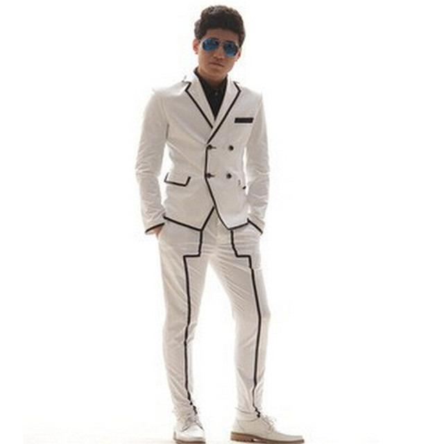 Chaqueta Hombre Blanco Traje En Negro Y Rayas Capa 1F7FwYBOq