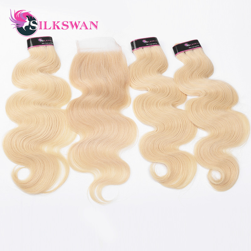 Human Hair Weaves New Fashion Silkswan 613 Blonde 3bundles With Closure Brazilian Body Wave Hair With Closure 4x4 Swiss Lace Free Part Remy Hair Bundles To Ensure A Like-New Appearance Indefinably