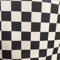 Black And White Chequer Printed Synthetic PVC Decorative Leather Material