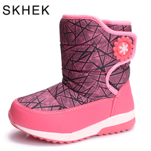SKHEK Brand Kids Boots Winter Children Boots Thick Warm Shoes wool Girls Boys Snow Boots For Kids Shoes Black Red 1739