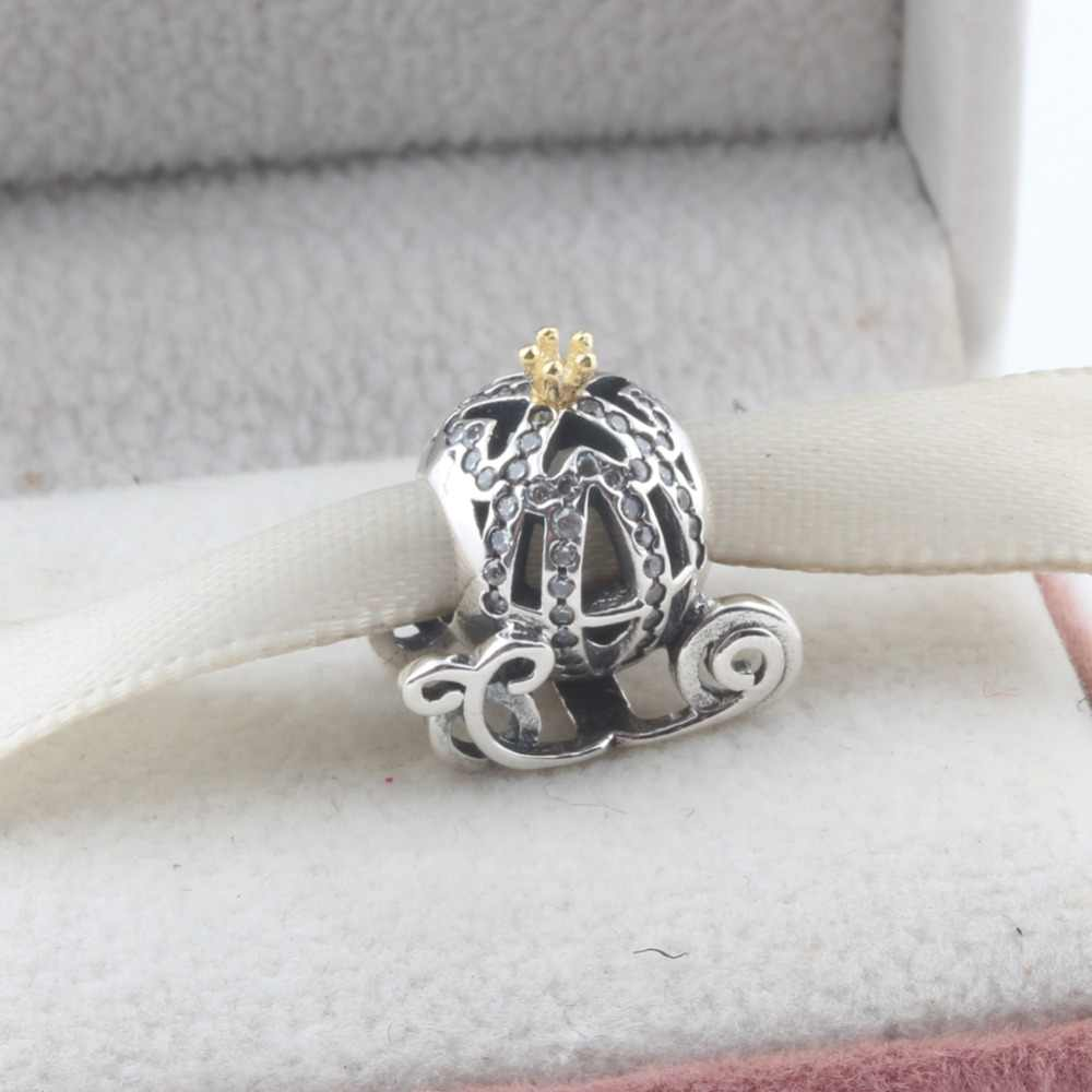 a9f914f25 Detail Feedback Questions about Real Crown Cinderella Pumpkin Cart Beads  Fits Pandora Bracelets Authentic 925 Sterling Silver Pave CZ Bead Diy  Jewelry on ...