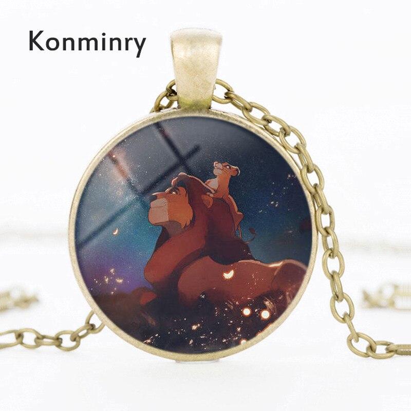 Family Decor Lion Pendant Necklace Cabochon Glass Vintage Bronze Chain Necklace Jewelry Handmade