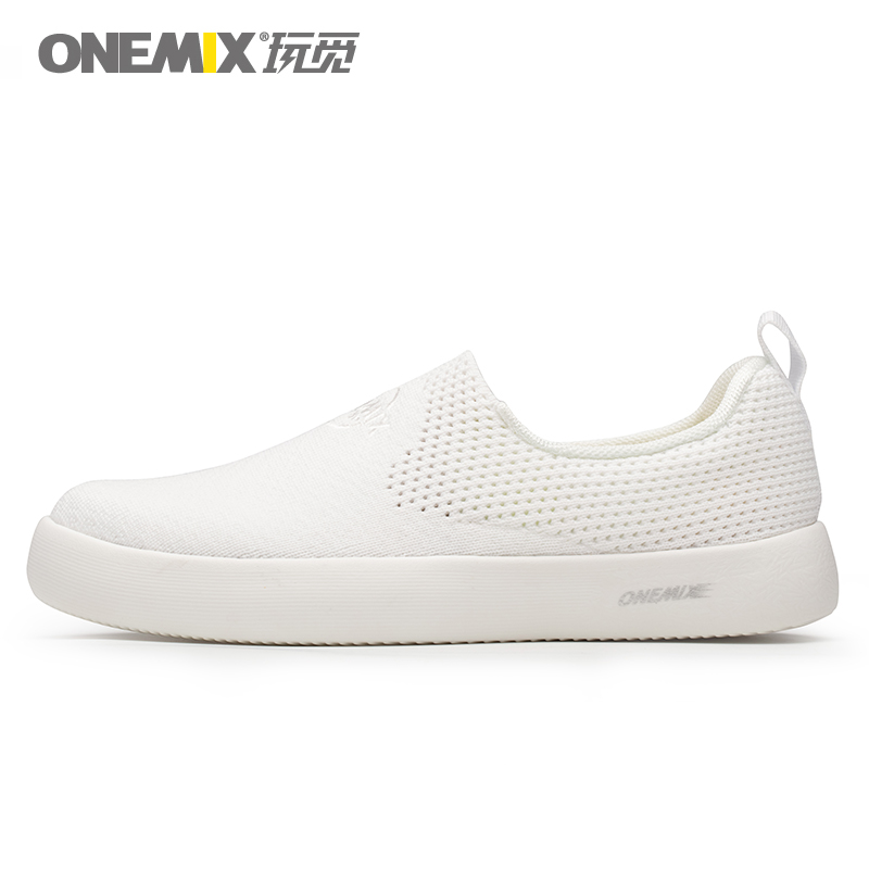 ONEMIX  White Men Casual Shoes Lightweight Slip-on Sneakers Breathable Mesh Upper Summer For Women