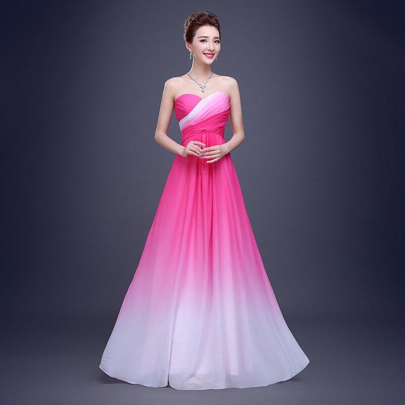 Cheap Ombre Dust Pink Chiffon Bridesmaid Dresses Long New Fashion ...