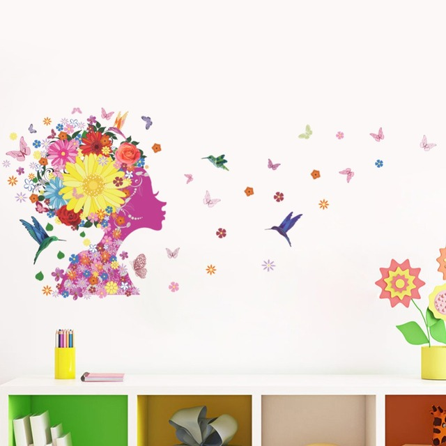 Colorful Flowers Fairy Wall Art Mural Decor Home Decor Wall Applique Kids Girls Room Wall Decal  sc 1 st  AliExpress.com & Colorful Flowers Fairy Wall Art Mural Decor Home Decor Wall Applique ...