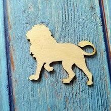 10 шт деревянный Лев вырезы ремесел Лев Украшения Искусство стены деревянные животных силуэт подарок теги украшения комнаты