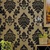 European Luxury 3D Non Woven Flocking Wallpaper Black Damask Floral Wall Paper Living Room Bedroom Wallpaper