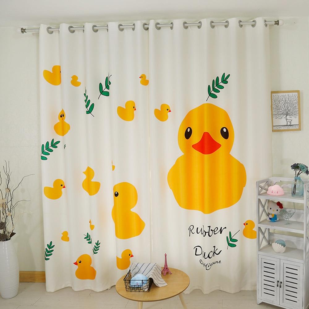 Custom Made 2x Grommet Window Curtain Nursery Kids Children Room Window Dressing Tulle 200x260cm Yellow Duck Leaves White