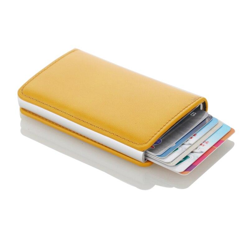 New RFID Blocking Vintage Leather Credit Card Holder Men Aluminum Business ID Card Case Automatic Male Metal Cardholder WalletNew RFID Blocking Vintage Leather Credit Card Holder Men Aluminum Business ID Card Case Automatic Male Metal Cardholder Wallet