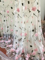 1 Yard Beautiful 3D Floral Blossom Fabric Beige Soft Tulle Lace Fabric for Wedding Gowns, Summer Dress, Boho Wedding Dress