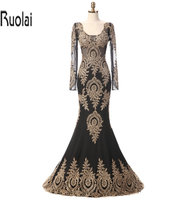 Black Satin Chiffon Scoop Long Sleeves Gold Lace Applique Mermaid Formal Evening Dresses For Wedding Party