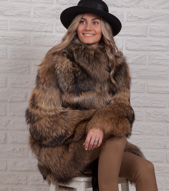 D'hiver Raccoon Col Vestes Manteaux Fourrure Grand De L'ensemble Raton Réel Naturelle Peau Chaude Épaisse Laveur d8w6xqSBHn
