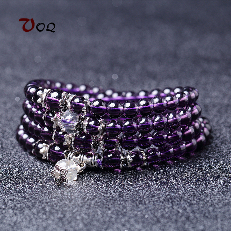 2018 Fashion Multi-laps Purple Crystal Bracelet 6 Mm Natural Stone Beads Charm Bracelets for Women Girl Brands Jewelry
