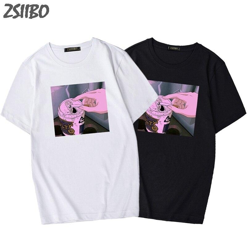2019 NEW Arrival Sad Anime Vaporwave Print T Shirt Aesthetic Japan Otaku Man's T-shirt Male Casual Short Sleeve Tops Harajuku