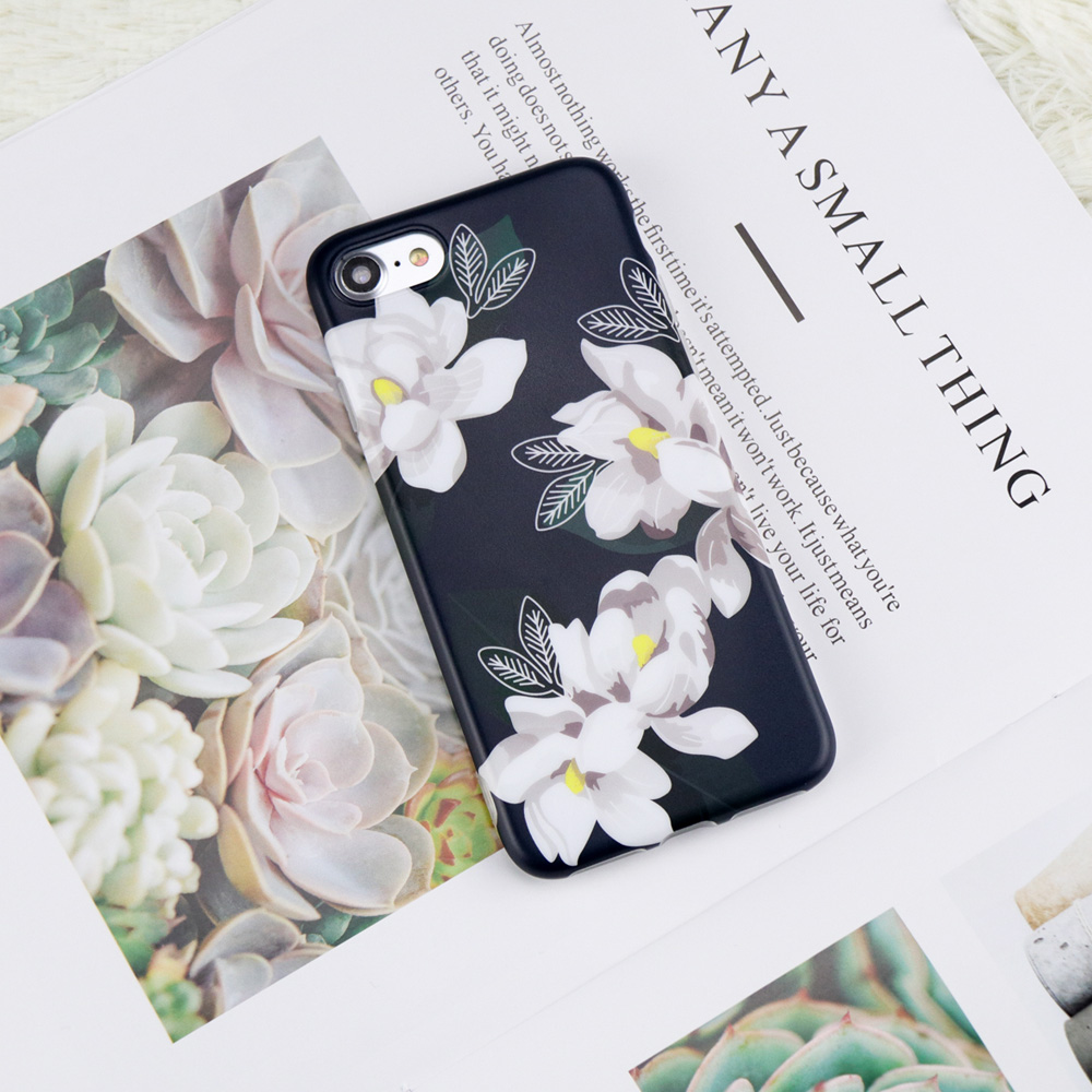 Trendy White Flower Simple Black Soft Imd Case For Iphone 7 8 Plus