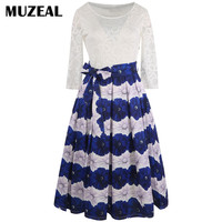 Muzeal Woman White Lace Blue Patchwork Elegant Waist Ties 3 4 Sleeve Swing Dress Casual Evening