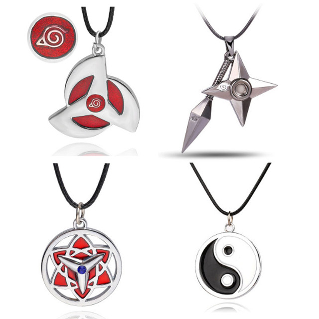 8 style Naruto symbol necklace with rope Hokage metal pendant Sasuki blood round eye shuriken konoha necklace for men/women