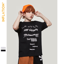 INFLATION Kids Fashion Summer Kids Top Tee For Boys Children Clothes Letter Printed Slogan T-shirts Tops Casual T Shirts 19250S slogan print marled tee