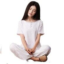 Women Yoga set Cotton Linen Loose Short Sleeve Yoga Top Wide Leg loose Yoga Pant Martial Arts Tai Chi Uniform Meditation Suit short yoga intervention