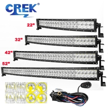 "CREK 22/32/42/52"" 5D Curved LED Light Bar Offroad 4x4 4WD For Jeep SUV ATV Truck Boat Car"