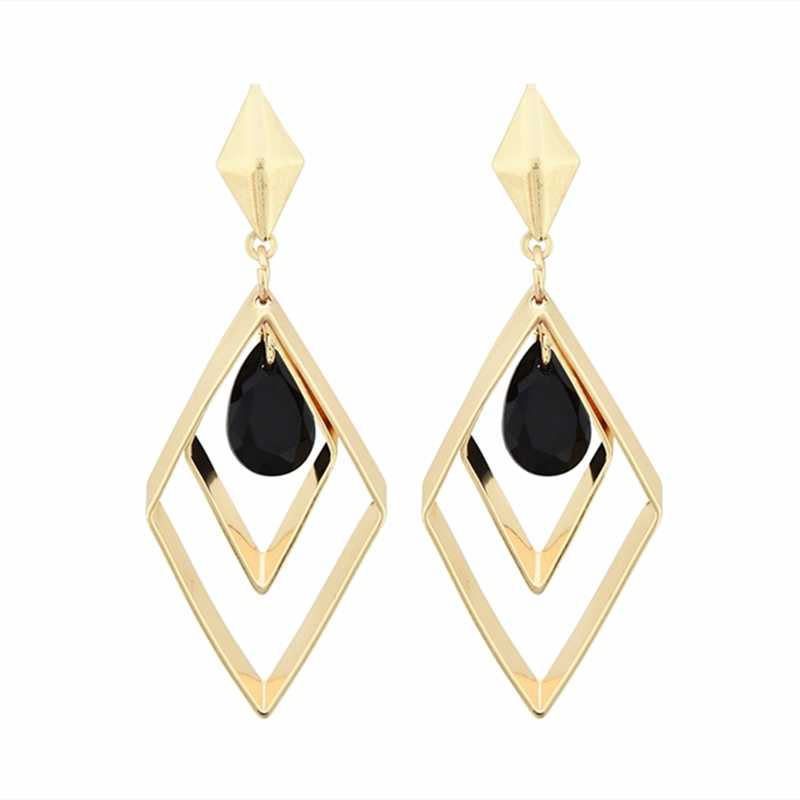 2019 Women's Fashion Water Drop Black Crystal Earrings Lozenge Geometric Hollow Parallelogram Drop Earrings For Women Jewelry