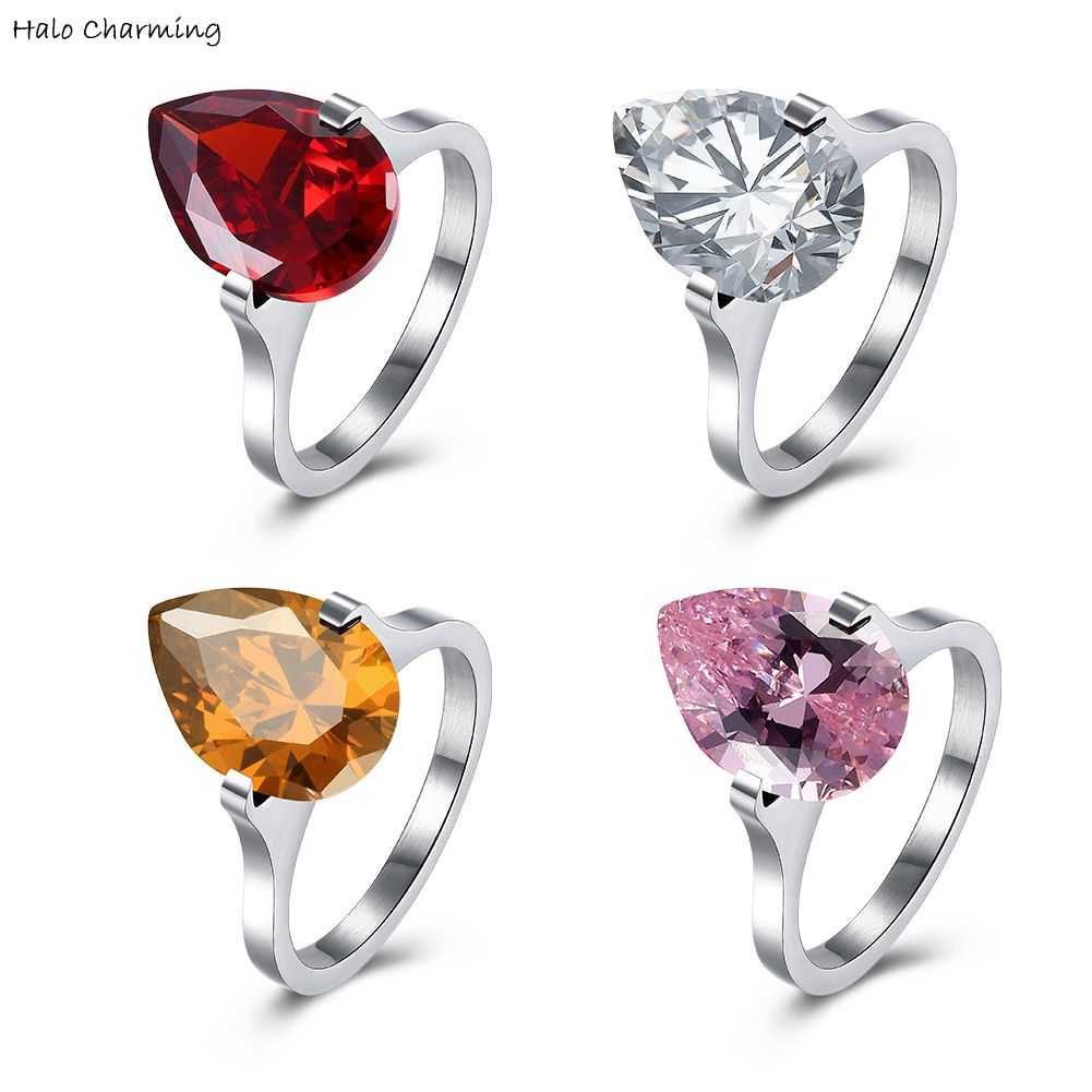 Silver Plated Fashion Jewelry Teardrop Rings Stainless Steel Hot Sale Zircon Gift Decoration Women Party
