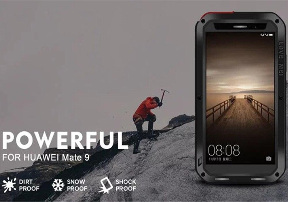 imágenes para LOVEMEI Lujo Cubierta de la Caja de Aluminio del Metal Para Huawei Casamata de Coque 9 Pro Vida A Prueba de agua A Prueba de Golpes + Gorila Teléfono Protector Armor caso