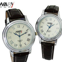 The new trend of fashion business casual leather belt white-collar students Rome style men and women lovers watch simple