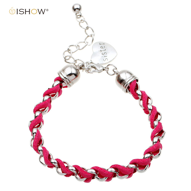 Hot Fashion Silver Heart Sister Bracelet Femme Pulseras Mujer Charm Leather Friendship Bracelets Bangles Bracciali Uomo