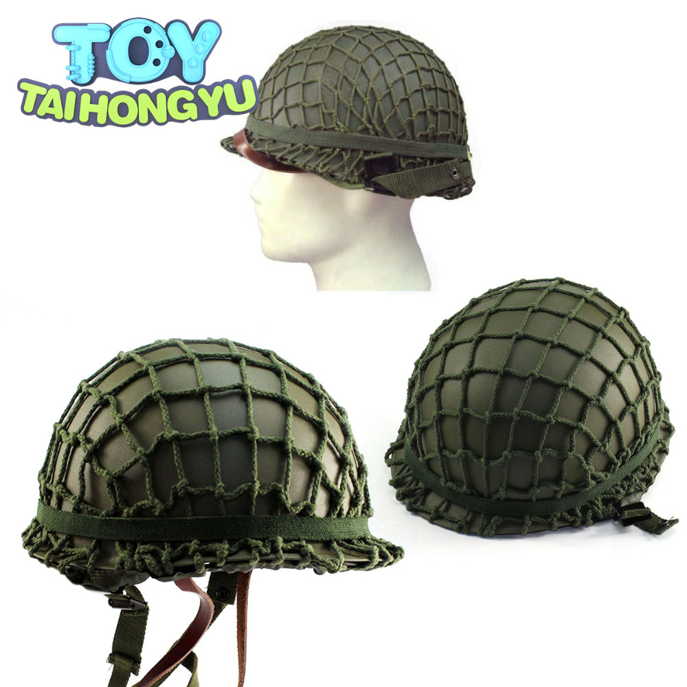 63e321ed374a8 TAIHONGYU Children Adults Cartoon Hats Play CS Game Helmet Party Caps With  Netting Cover Army Steel