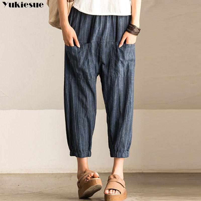 cotton linen women's   pants     capris   with high waist loose harem   pants     capris   for women trousers woman   pants   female Plus size 5xl