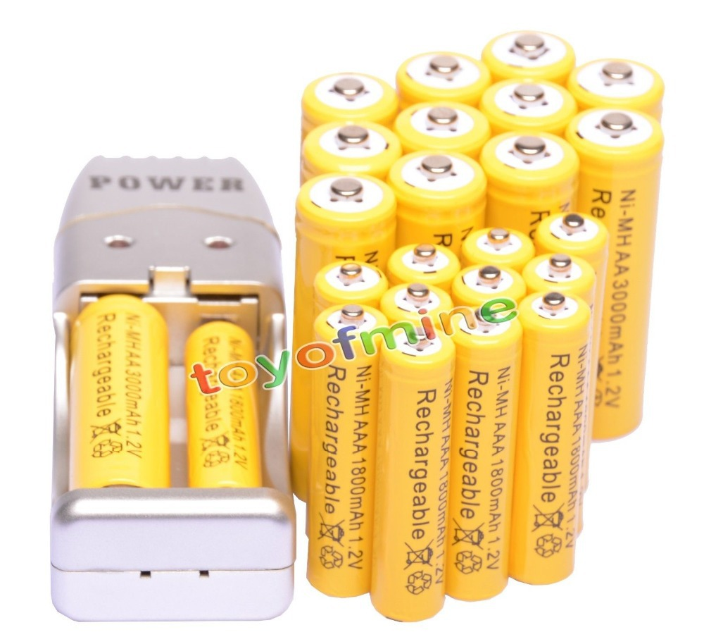 2/4/8/12/16/24pcs AA 3000mAh + <font><b>AAA</b></font> 1800mAh Rechargeable Battery 1.2V Yellow + USB Battery Charger image