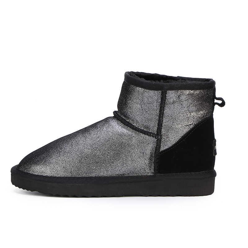 HABUCKN Neue Mode Frauen schnee stiefel 100% Echtem Leder frauen Stiefel warme wasserdichte winter stiefel stiefeletten Kostenloser Versand