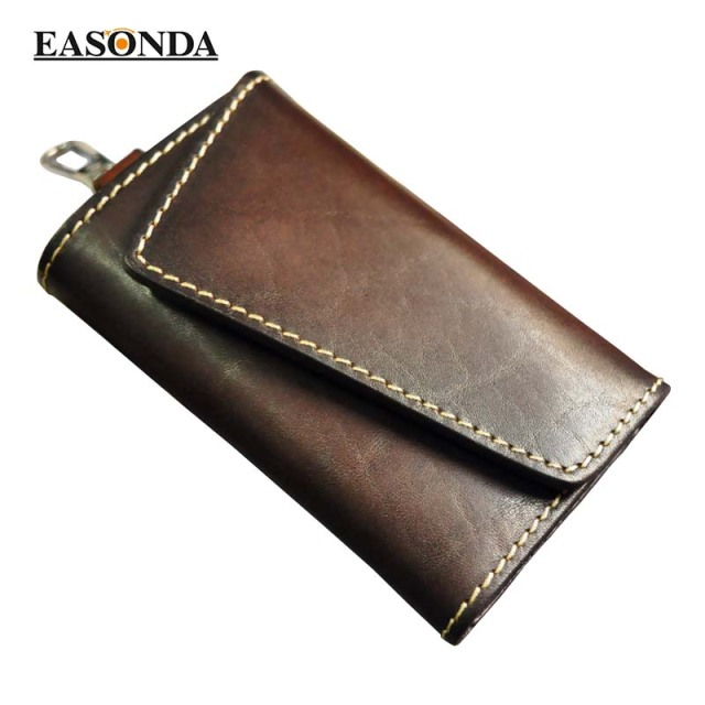 Car Key Pouch Holder Key Organizer Wallet Retro Genuine Leather Purse Portallaves Multifunction  High Class Key Case keysmart