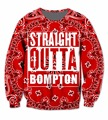 Real USA Size 3D Sublimation print Crewneck Sweatshirts Red Bandana Straight Outta Bompton - Compton California streetwear