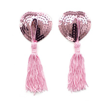 Multicolored Sequin Nipple Heart Shape Covers With Tassels