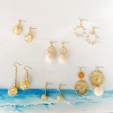 Asymmetric Geometric Pearl Earrings Fashion Plush Water Drop Shape Earrings Japanese Style Girls Gold Dangle Earrings for Women pair of noble retro style rhinestone embellished geometric shape earrings for women